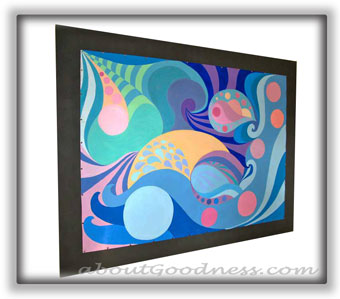 Magnet frame for art has a look of canvas frame and makes it very easy to change art on it in few minutes.