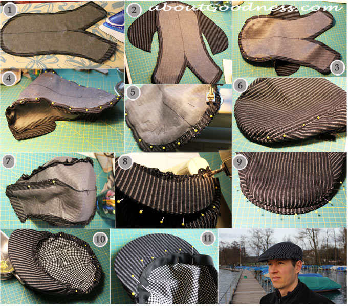 37a5604cd4c Detailed description of steps for making the hat is below the pictures  flat  cap newsboy gatsby hat DIY tutorial