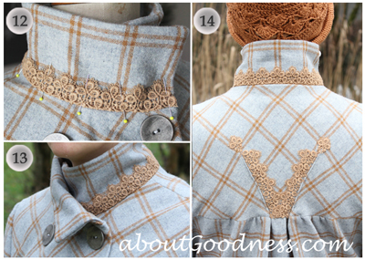 High collar with lace for coat DIY tutorial